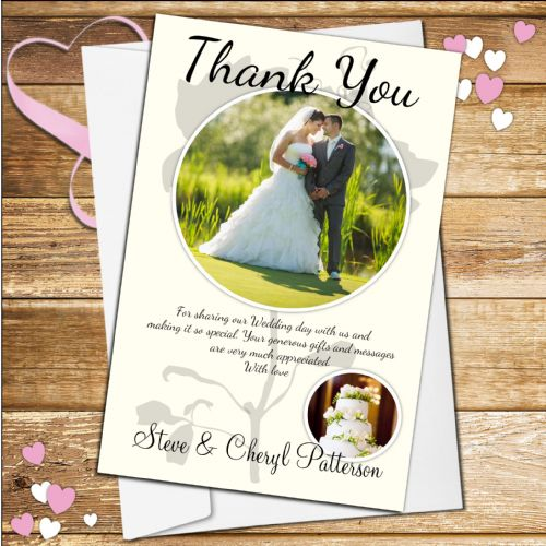 10 Personalised Wedding Day Thank you Photo cards N49